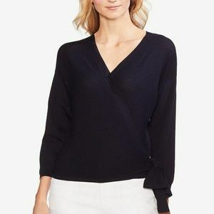 Vince Camuto Sweater Ribbed Wrap Navy Blue Sz L